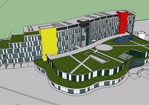 某详细的酒店旅馆建筑设计SU(草图大师)模型