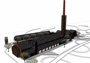 中式风格详细的砖厂建筑设计SU(草图大师)模型