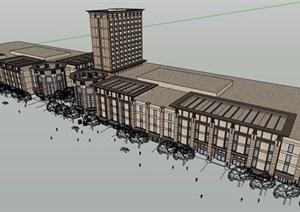 某现代风格街边商业住宅楼设计SU(草图大师)模型