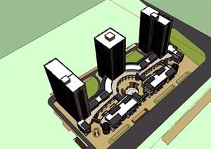 某现代风格详细完整的商业详细住宅楼设计SU(草图大师)模型