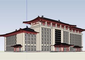 某古典中式风格详细的酒店设计SU(草图大师)模型
