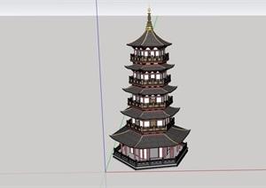 古典中式风格详细的五层宝塔设计SU(草图大师)模型