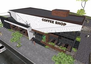 现代详细完整的咖啡馆建筑SU(草图大师)模型