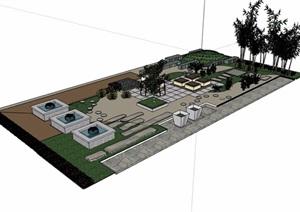 现代风格详细完整的休闲庭院景观SU(草图大师)模型