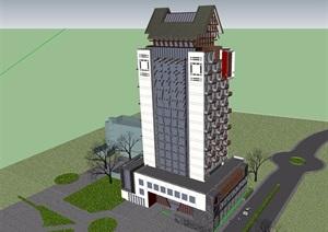 中式独特造型的酒店建筑设计SU(草图大师)模型