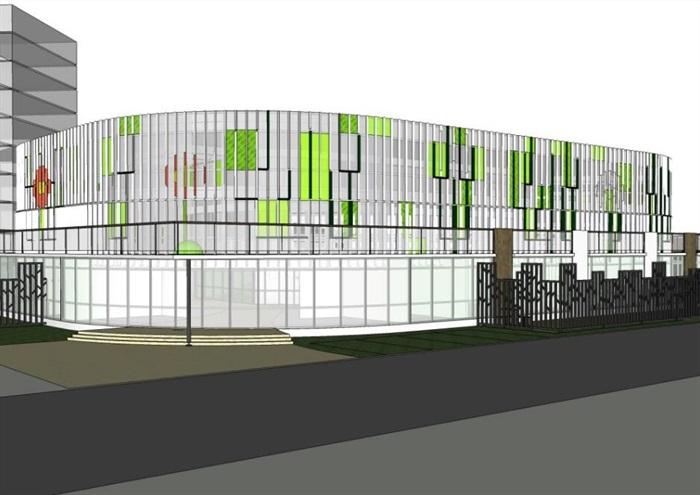 现代创意绿色生态图案花纹格栅表皮曲线型幼儿园托儿所设计[原创]