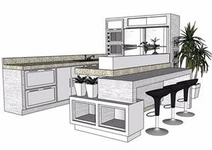 现代风格浅色调厨房整体素材SU(草图大师)模型