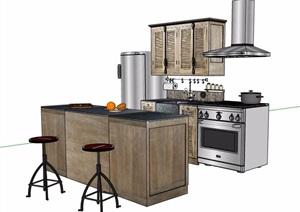现代风格小型厨房橱柜素材SU(草图大师)模型