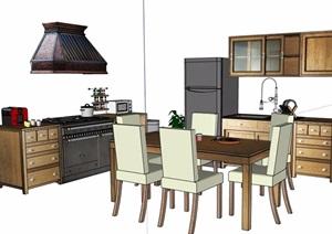 现代中式厨房橱柜及餐桌椅素材SU(草图大师)模型