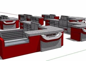 现代风格多款收银台服务台设计SU(草图大师)模型