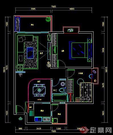 两室两厅室内装修设计施工图