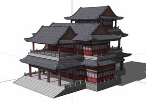 古典中式风格详细多层旅游景区建筑SU(草图大师)模型