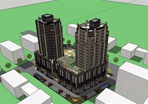 现代详细完整的商住楼建筑设计SU(草图大师)模型