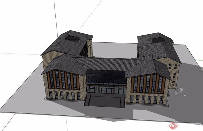 三层欧式风格详细的办公建筑楼设计su模型[原创]
