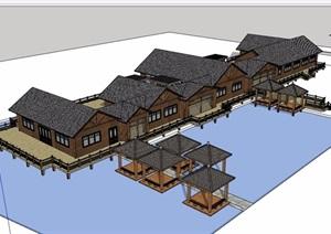 农家乐单层详细的建筑SU(草图大师)模型