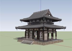 详细的古典中式风格寺庙建筑设计SU(草图大师)模型