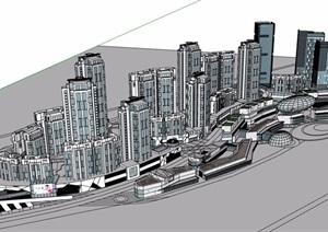 商业完整详细住宅建筑楼设计SU(草图大师)模型