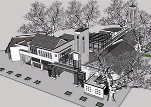 新中式游客服务旅游中心建筑SU(草图大师)模型