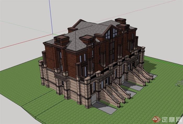 欧式详细完整双拼住宅别墅设计su模型[原创]