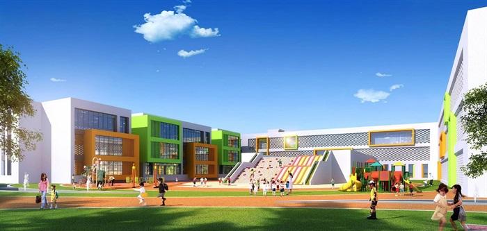 新中式现代中小学幼儿园SU模型建筑方案设计,建筑地上四层,新中式现代建筑风格,图纸内容包括SU模型、效果图等,图纸制作精细具有较高的参考价值。