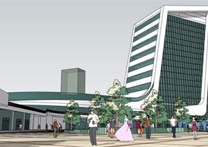 某详细完整的汽车站建筑设计SU(草图大师)模型