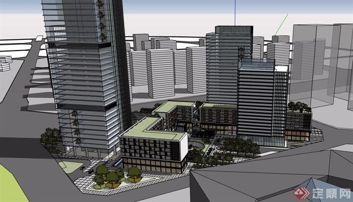 详细完整的商业办公建筑楼设计su模型[原创]