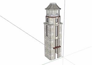 详细的欧式塔素材设计SU(草图大师)模型