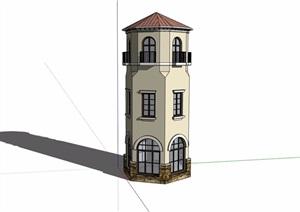 欧式风格详细完整景观塔素材设计SU(草图大师)模型