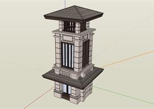 中式独特景观塔设计SU(草图大师)模型