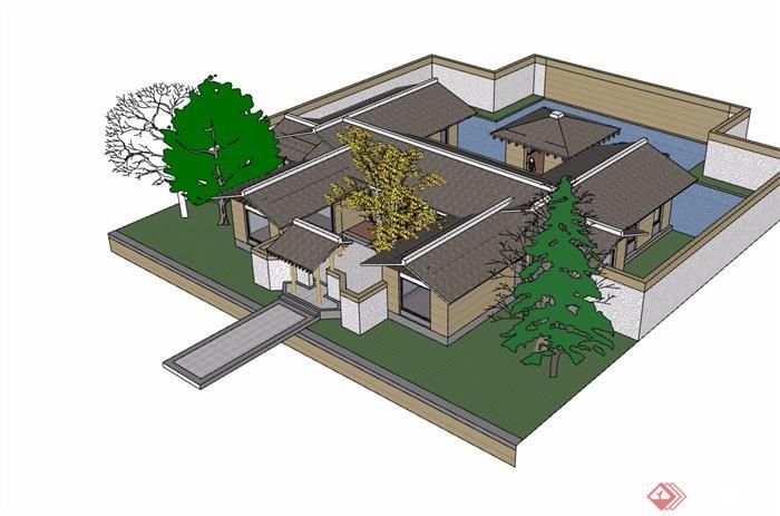 中式详细的私人住宅详细别墅设计su模型