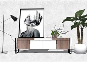 现代北欧电视柜枯枝植物落地灯装饰画SU(草图大师)模型