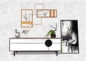 现代简约电视柜置物架植物枯枝SU(草图大师)模型