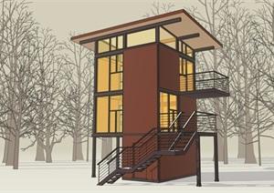 观景楼建筑设计SU(草图大师)模型