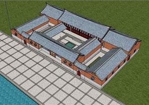 古典中式风格单层详细寺庙设计SU(草图大师)模型