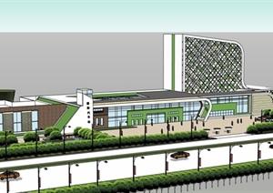 某详细的汽车站建筑楼设计SU(草图大师)模型