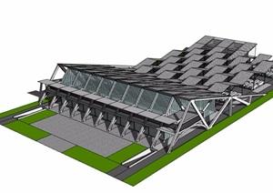 某现代汽车站建筑简单设计SU(草图大师)模型