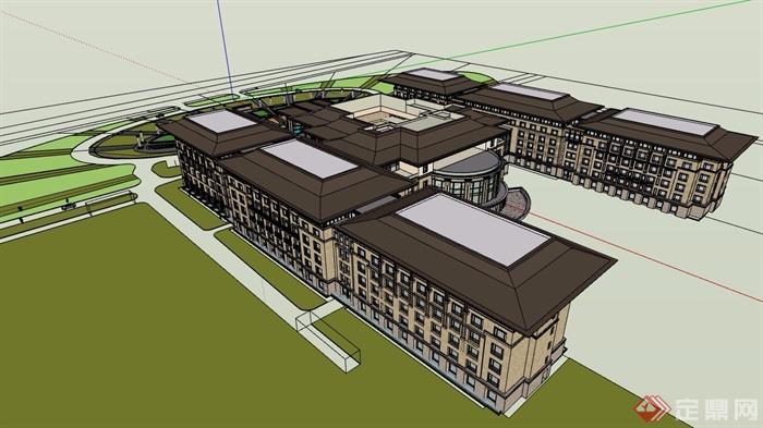 欧式风格详细多层酒店建筑设计su模型[原创]