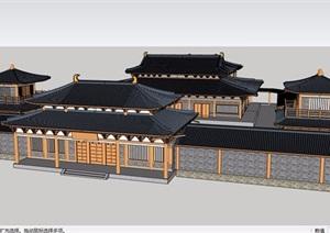 古庙建筑群山门设计SU(草图大师)模型