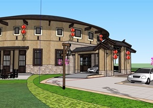 古典中式风格酒楼餐饮建筑SU(草图大师)模型