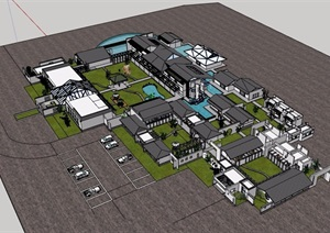 中式风格详细的旅游度假区建筑SU(草图大师)模型