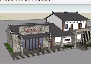 中式详细的游客中心建筑SU(草图大师)模型