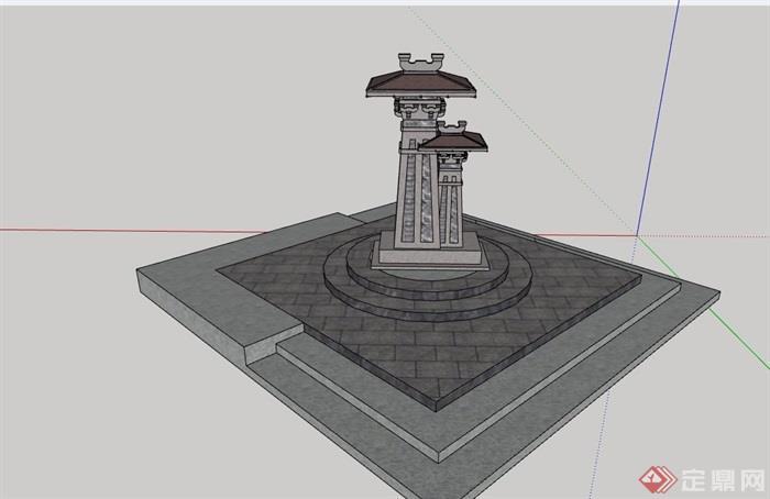 中式风格独特雕塑小品素材设计su模型