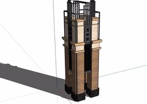 新古典风格景观塔楼素材设计SU(草图大师)模型