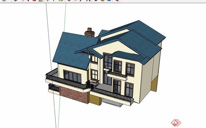 三层详细的欧式住宅别墅su模型