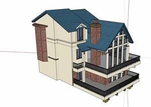 三层详细的欧式住宅别墅SU(草图大师)模型