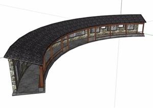 弧形景墙长廊素材设计SU(草图大师)模型