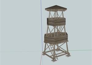 全木质详细的塔素材设计SU(草图大师)模型