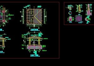 详细四角亭子CAD施工图