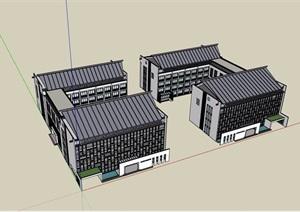 中式详细多层完整详细的办公建筑SU(草图大师)模型