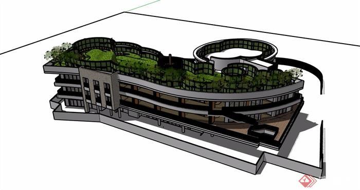 详细的幼儿园三层建筑设计su模型[原创]